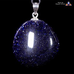Blue Goldstone Pendant with 925 Sterling Silver Fittings with Adjustable Nylon Cord