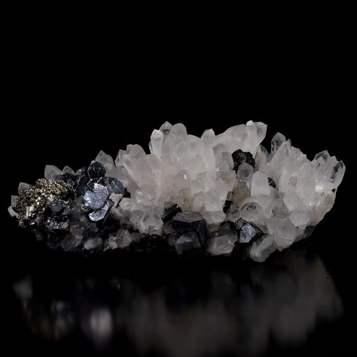 Bulgarian Truncated Galena and Pyrite on Quartz Cluster - Video Below!