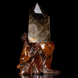 Polished Smoky Quartz Point With Wooden Base – Video Below