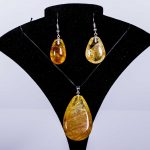 Golden Rutilated Quartz Pendant & Earring Set  – With 925 Sterling Silver Plated Fittings