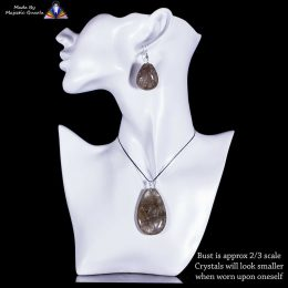 Golden/Copper Rutilated Quartz Pendant & Earring Set  – With 925 Sterling Silver Plated Fittings