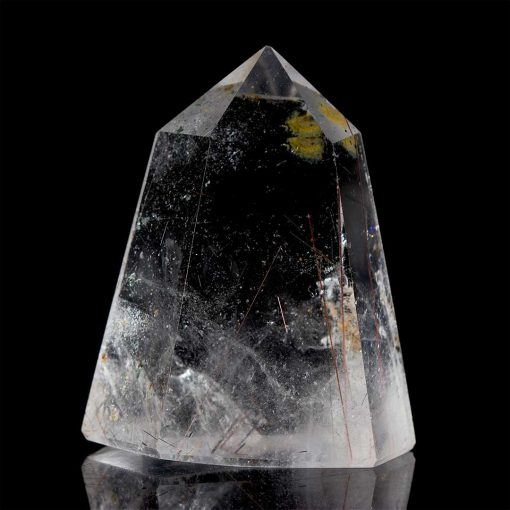 Polished Green Chlorite Copper Rutilated Included Quartz Point