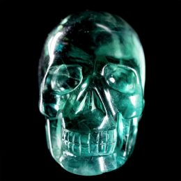 LARGE Rainbow Fluorite Polished Skull Carving – Video Below!
