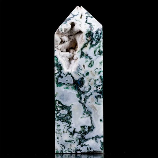 Crystallized Polished Moss Agate Point/Tower